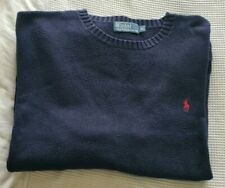 Mens Polo Ralph Lauren Crew Neck Jumper Navy Blue Size XL