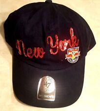 NEW YORK RED BULLS Womens Hat 47 Brand Cap Sequin Sparkle Logo Blue Adjustable