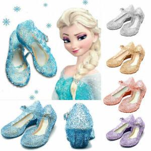 Kids Girls Frozen Princess Elsa Cosplay Fancy Dress Up Sandals Jelly Shoes Size