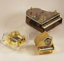 New Listing2 Vintage Grand Piano Music Boxes & 1 Small Vintage Grand Piano Clock