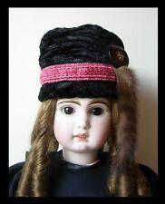 Chapeau toque astrakan poupée Jumeau SFBJ Kestner Halbig fur hat antique doll