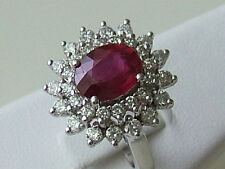 14k. White Gold Oval Ruby & Diamond Cluster Cocktail Ring, Vintage