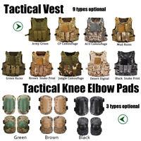 Tactical Vest Airsoft Paintball Molle Combat Assault Pouches Knee Elbow