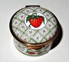 Staffordshire English Enamel Box - Strawberry Vines & Flowers & Leaves - Fruits
