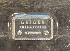 Geiger Edelmetalle 1 Gram Silver Bar 999 Fine - Mint Sealed