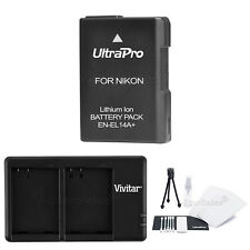 EN-EL14a Replacement Battery and USB Dual Charger for Nikon D3100 D3200 P7700 Df