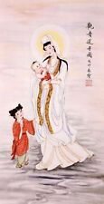 ORIENTAL ASIA FINE ART CHINESE FIGURE WATERCOLOR PAINTING-Guanyin Buddha&Sonship