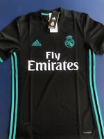 adidas Real Madrid Soccer Jersey - Away Shirt Black/Aero Reef - XS