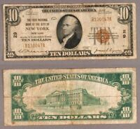 New York NY $10 1929 T-1 National Bank Note Ch #29 First NB of the City VG