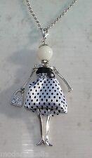 Bambola Collana vestito a pois,perle,da Donna,bambolina,necklace doll, bianco