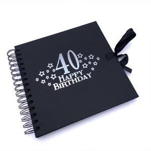 40th Birthday Black Scrapbook, Guest Book Or Photo album With Silver Script