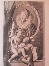 Elisabeth I Reine d'Angleterre par Van der Werff, grav. Vermeulen XVIIe S.