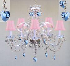 5 LIGHT VENETIAN CRYSTAL CHANDELIER PINK SHADES BLUE HEARTS LIVING DINING ROOM