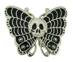 Silver Metal New Butterfly Skull Belt Buckle Rock Rebel Gothic Tattoo Halloween