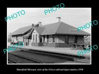OLD LARGE HISTORIC PHOTO OF MANSFIELD MISSOURI, THE FRISCO RAILROAD STATION 1950