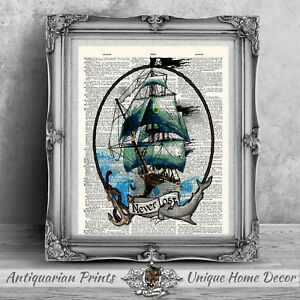 Pirate art Print on antique dictionary book page, Bathroom Wall Decor Tattoo art