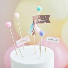 Happy Birthday Cake Topper | Pastel Pom Poms Flags Picks Decorations