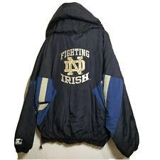 Notre Dame Fighting Irish Starter Jacket XL Vintage Pullover 90's Hooded Parka