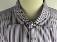 Michael Kors Mens Blue Luxe Cotton Button Down Shirt Striped Size 19 34/35