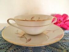 VINTAGE SOUP COUPE & PLATE NORITAKE JANIA 5631 WHITE GOLD LEAVES 4 AVAILABLE