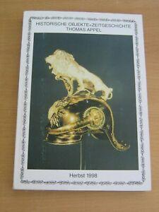 Historische Objekte und Zeitgeschichte Thomas Appel , Katalog Herbst 1998