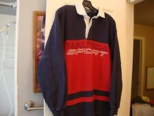 Vintage NAUTICA SPORT Color Block Rugby Long Sleeve Polo Shirt Men's Size M