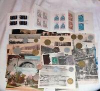 lot multicollection France : 20 monnaies -20 cartes postales -3 carnets croix ro