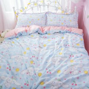 3PCS Cinnamoroll Cotton Bedding Sheet Quilt Cover Duvet Cover Sheet Pillow Case