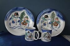 Tabletops Unlimited Winterland Christmas Snowman Coffee Mugs Cups Plates