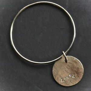 HAND MADE 9CT GOLD 3cm  MOON DISC LUXURY 2mm GOLD ROUND WIRE BANGLE personalised