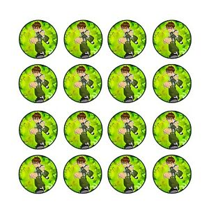24x Ben 10 Birthday Cupcake Toppers Edible Wafer Paper 4cm (uncut)
