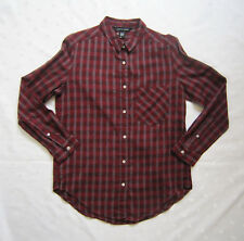 NWOT American Apparel Button Down Long Sleeve Maroon Plaid Cotton Shirt Size XS