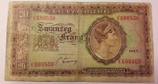 20 franc frang Luxemburg / Luxembourg Letzeburg 20 Frang 1943