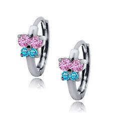 Women/Childrens 14K WG Birthstone Pink/Blue Topaz Huggie Butterfly Earrings
