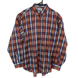 Arizona Jean Company Mens Shirt Size L Orange Western WearChecked Button-Down