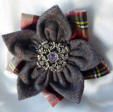 Royal Stewart Tartan Rose Wedding Flower Corsage Fabric Roses Brooch New