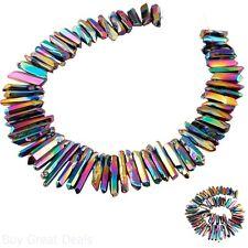 Rainbow Aura Titanium Coated Crystal Rough Spikes Bead 15In Strand Drilled