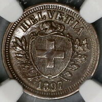1897 NGC MS 62 Switzerland 1 Rappen Key Date Swiss Coin POP 2/2 (18111901C)