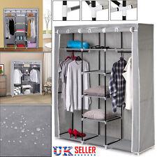 Canvas Wardrobe Hanging Fabric Clothes Storage Rail Cupboard Shelves Shelving UK