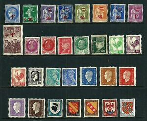 30 Stamps - France 1940-1949 MH