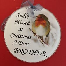 Glass Robin Christmas Tree Decoration In Memory Of Brother