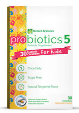 Kids Chewable Probiotic Supplement By Naturo Sciences, 30 Ct, Sugar Free, Orange