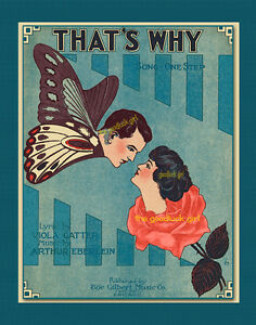 THAT'S WHY Butterfly & Rose 8x10 Vintage Fantasy sheet music cover Art print