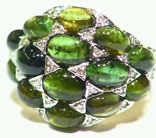 6.11CT 14K Gold Natural Round Cut White Diamond Tourmaline Vintage Deco Ring