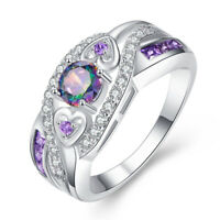 Wedding Band Rainbow Topaz & Amethyst Gemstone Silver Ring Size 6 7 8 9 10 Gifts