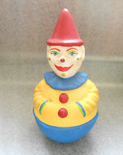 rare antique paper mache painted clown roly poly toy