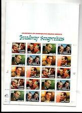 us scott #3345-50 33c xf mnhog  sheet (20) stamps Broadway songwriters 1999 comm