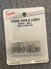 Penn Hooks, Eyes & Loops Size 2 sewing 20 Sets Nickel Plated Steel Style 1702-72