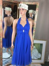 Vintage Mike Benet Royal Blue Halter Chiffon Dress Sheer Girly Size 12