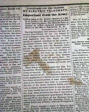 MEXICAN-AMERICAN WAR Pre Battle of Buena Vista U.S. Army 1847 Original Newspaper